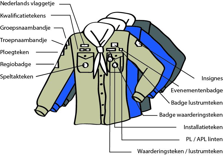 Waar horen de insignes op je Scoutfit (scouts)